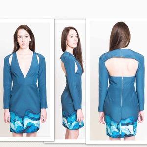 Stylestalker Teal blue Cutout long sleeve dress
